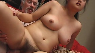 Asian Amateur with a Very Big Bush is being Used By an Old Man Who Gives His Cock For Sucking and Th