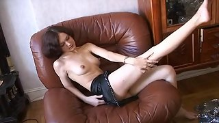 Lonely Slavic Girl Plays with Fucking Machine To Bring Her Hairy Cunt Some Pleasure