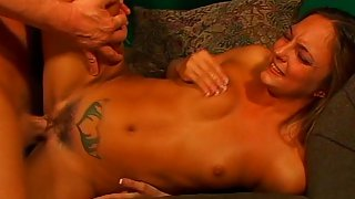 Tattooed Girl's Cunt is being Licked By a Man - Admirer Of Hairy Pussies Who Later Fucks Her and Cum