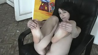 Slavic Brunette Girl Spreads Her Legs To Shock Us with Her Awesome Hairy Pussy